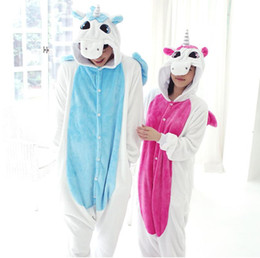 Wholesale Onesies For Women - 9colors in stock Pink Unicorn Pajamas Sets Flannel Pajamas Winter Nightie Stitch Pyjamas for Women Adults 2018