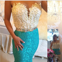 Wholesale Mint Dresses For Prom - Mermaid Prom Dresses Long Sheer Jewel Neck 2017 Illusions Back Mint Prom Gowns with Pearl Lace Dress Evening Wear For Women