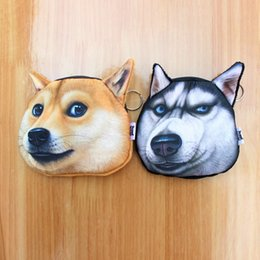 Wholesale Cheap Dog Bags - Wholesale- Novelty coin purses Cute Dog Cat Face purse girl Coin womens Purse cheap kids Wallet Buggy Bag Pouch Bag small wallet children