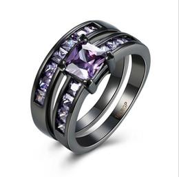 Wholesale Vintage Promise Rings - Women's Vintage Black Gun Plated Rings Cut CZ Crystal Engagement Rings Best Promise Rings Anniversary Wedding Ring