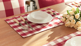Wholesale Dinner Plates For Sale - Hot Sale Beauty Cotton Placemat Grid Plate Heat Insulation Mat Cushion Rugs Matting Water Proof Pad Covering for Dinner Table Free Shipping