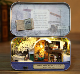 Wholesale Gift Paper Box Doll - Assembling Furniture Doll House DIY miniature model 3D Wooden miniatures Box Theatre toys for children birthday gift