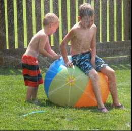 Wholesale Sprinkler Toys - Hot Inflatable Beach Water Ball Outdoor Sprinkler Summer Inflatable Water Spray Balloon Outdoors Play In The Water Beach Ball KKA1473
