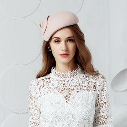 Wholesale Wool Felt Fascinator - Winter Women Wool Felt Hat Fedora Ladies Fashion Pink Pillbox Hats Vintage Fascinator Wedding Hat Party Chapeau Femme Feutre