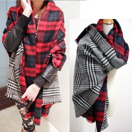 Wholesale Scarfs Women S - Winter Brand Women 'S Cashmere Scarf Plaid Oversized Double Faced Plaid Multifunction Thicken Warm Cape Shawl Free Shipping