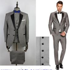 Wholesale Mens Grey Pinstripe Suit - Custom Grey Mens Suits Black Lapel Slim Fit Wedding Suits 2017 for Groom   Groomsmen Prom Casual Suit ( Jacket+Pants+Vest+Bow Tie )