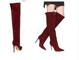 Stivali al ginocchio grigio scamosciato online-All'ingrosso stivali sopra il ginocchio stivali donna tacco alto stivali alti alti coscia grigio marrone neri alti stivali rossi alti taglia 35-43
