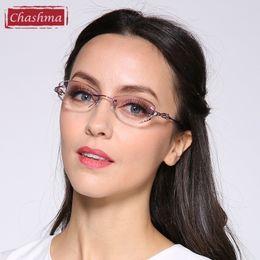 Wholesale Read Diamond - Wholesale- Chashma Luxury Tint Lenses Myopia Glasses Reading Glasses Diamond Rimless Prescription Glasses for Women