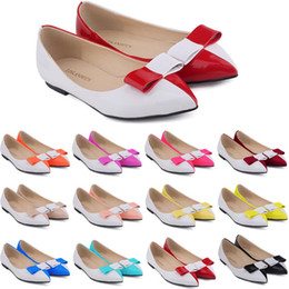 Wholesale Ballet Shoes Size 11 - Zapatos De Mujer Ladies Womens Faux Leather Patent Flats Dolly Ballet Shoes Bow Us Size Flat Shoes Women Size 4-11 D0068
