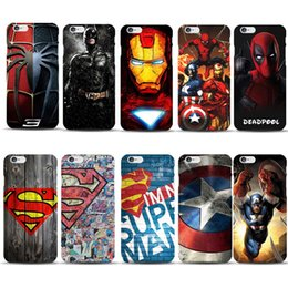 Wholesale Marvel Casing - Marvel Avengers Superman Hard Case For iPhone X 10 8 7 6 6S Plus 5S 5C PC Case Deadpool Ironman Batman Superhero Covers