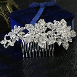 Wholesale Make Wedding Headpieces - Sparkly Crystal Bridal Hair Comb New Arrival Rhinestone Floral Wedding Prom Evening Party Headpieces Jewelry Accessory Tiara Factory Made