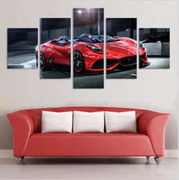 Wholesale Cool Canvas Paintings - Cuadros Fashion Wall Art Picture 5 Panel Cool Reflective Sports Car Canvas Print Painting Living Room Decoration Peinture
