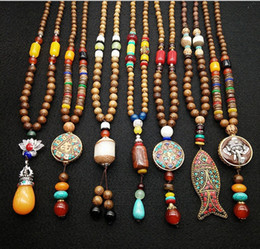 Wholesale Tin Tags Wholesale - 10 styles Indian bridal jewelry Nepal Bodhi Wood Beads Necklaces Long Sweater Pandent Statement Necklace For Women NE608