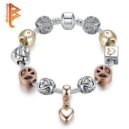 Wholesale Gold Silver Charm Bangle Bracelet - BELAWANG Luxury Crystal Love Heart Pendant Charm Bracelets&Bangles Silver Plated Snake Chain Bracelets For Women Jewelry Mother's Day Gift