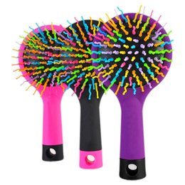 Wholesale Hot Curling Brush - Hot Selling Rainbow Volume Anti-static Magic Hair Curl Straight Massage Comb Brush Styling Tools With Mirror HB88