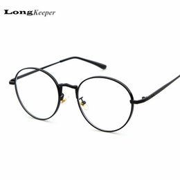 Wholesale Wholesale Designer Optical Frames - Wholesale- 2017 New Designer Women Glasses Optical Frames Metal Round Glasses Frame Clear lens Eyeware Black Silver Gold Pink Eye Glass