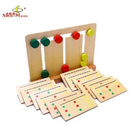 Wholesale Wooden Toys Cake - Wholesale-Wooden toy birthday gift Montessori baby funny early learning tool 3 color sorting array move cake match card pattern game 1set