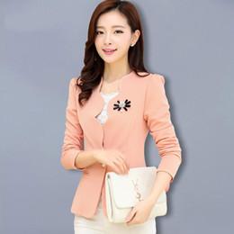 Wholesale Fashionable Woman Blazers - Fashionable Ladies Blazer Feminino 2016 Plus Size Blaser Women Suit Blazers And Jackets White Pink BlackYellow jaqueta feminina
