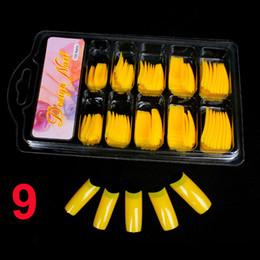 Argentina Al por mayor-100 PCS Color amarillo Falso acrílico UV Gel francés Nail Art Half Tips Salon Set de herramientas # 9 supplier yellow acrylic nails Suministro