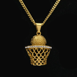 Wholesale Gold Ball Charms - New Fashion Vintage Silver Basket Rim Hoop Shoot Ball Basketball Stands Charm Pendant Necklace Rhinestone Men Women Gift