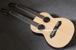 Wholesale Double Acoustic - Wholesale- 6 12 String Acoustic Electric Double Neck Guitar, Two Hole,with EQ With Bag