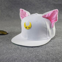 Wholesale Snapback Horns - Wholesale- Lovely Sailor Moon Cat Cap Snapback Ears Gorras Planas Hip Hop Hat Devil Horns Sunshade Casquette Baseball Cap free shipping