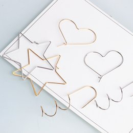 Wholesale Jewelry Silver Pendant Clip - 20PCS, Gold silver plated star heart charm pendant, Ear nail earring ear clip findings , jewelry findings