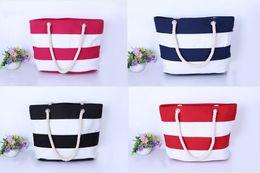 Wholesale Pink Promotional Items - Women Beach Canvas handbags Bag Fashion Stripes Printing Handbag Ladies Large Shoulder Bags Tote Casual Shopping Bags