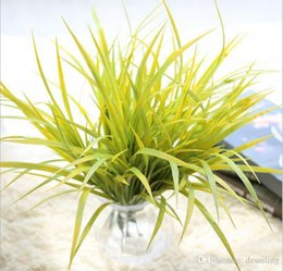 Wholesale Left Hand Wholesalers - Hand-feeling grass leaves greenery 2 colors artificial plants silk flowers bridal bouquet or wedding home party holiday decoration 20203