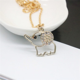 Wholesale Chian Wholesale - 2017 New Fashion Necklace Cute Elephant Key Crown Necklaces & Pendants Leather Chain Alloy Chian For Women Necklace Gift