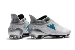 Wholesale Products Boots - Soccer Shoes X 17+ Purespeed FG Dust Storm Men Soccer Cleats White Energy Blue Clear Grey Football Boots Product code: 41636