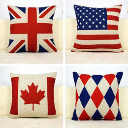 Wholesale American Flag Pillow - Home living Cotton Decorative Square Pillow Case Fashion American Flag Cushion Case 45*45cm Free Shipping