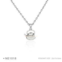 Wholesale Tea Gift Tins Wholesale - Tea pot Pendant Charms Fashion Antique Silver Bronze Pendant 3D Plated Collar Body Chain Necklaces for Women Girls Boys Jewelry