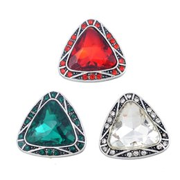 Wholesale 23mm Button - 23mm Antique Silver Triangle Cute Style Inlaid Crystal Ginger Snap Button DIY Noosa Jewelry Chunk Snap Button Jewelry Accessories N97S