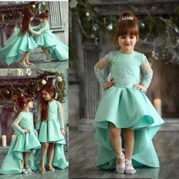 Wholesale High Low Mint Dresses - Mint High Low Flower Girl Dresses For Wedding Lace Appliques Sheer Long Sleeves Girls Pageant Dress Satin Birthday Kids Party Gowns
