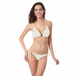 Wholesale Fringe Bandeau - High Quality Bandeau Fringe halter Two Pieces Cute Pure Slimming Women Ruffle Triangel Bikini Brazilian