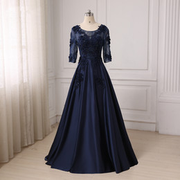 Wholesale Gowns For Fat Sleeves - Evening Gowns For Fat Women 2017 Half Sleeves Long Dark Navy Plus Size Satin Appliques Lace Special Occasions Dress For Ladies