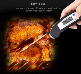 Wholesale Digital Lcd Probe Food Thermometer - Foldable BBQ Thermometer Barbecue Digital LCD Cooking Food Probe Meat Kitchen Temperature Sensor Mini Folding Meat Thermometer +B