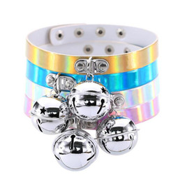 Wholesale Stainless Steel Collars For Slaves - Rainbow Laser PU Leather Bell Pendant Choker Necklace Collar Neckband Torques Sub Slave Necklace For Women Punk Statement Jewelry