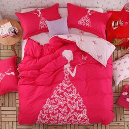 Wholesale Quilt Cover Double Size - Wholesale-Pink color girls bedding set 4pcs or 3pcs for queen twin size double bed duvet cover bedsheet pillowcase bed quilt 100%cotton