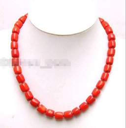 Wholesale Titanium Rope Necklace Sale - SALE GENUINE NATURAL 10-11mm Thick Slice Red Coral 1 Strands 17