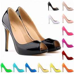 Wholesale Sexy Open Toed Orange Heels - Summer New Sexy and Elegant Fashion Shoes Fish Head Higher Heel Waterproof Women Sandal Patent Leather Shoes US Size 4-11 D0026
