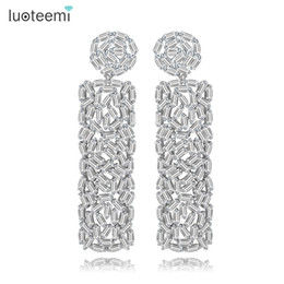 Wholesale Square Shape Studs - LUOTEEMI New Vintage Drop Earrings Unique Design Full Ladder Shape CZ Crystal Round and Square Dangle Brincos Christmas Gifts