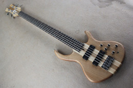 Wholesale Neck Through Body Bass Guitar - Free Shipping Factory custom shop New Top Quality custom neck through body bass guitar 5 string electric bass Natural color 914
