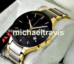 Wholesale Ceramic Bracelets For Men - High quality chronograph watch top brand ceramic quartz stopwatch for men watches luxury wristwatch yellow gold and black bracelet with date