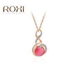 Wholesale Opal Pendant Rose Gold Chain - ROXI New Fashion Women Elegant Pendent Necklace Luxury Rose Gold Color Jewelry Crystal Zirconia Opal Pendants Jewelry