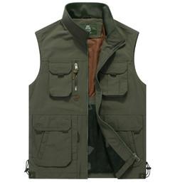 Wholesale Casual Cargo Jacket - Wholesale- Men Vest Coat Manteau Homme Brand Clothing 2016 Spring Casual Zipper Cargo Vests Mens Sleeveless Jackets Waistcoat