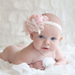 Wholesale Cotton Paper Flowers - Wholesale- Modern 2015 Rhinestone Pearl Flower Baby Headband Hairband Photography For kids hair accessories Aug03