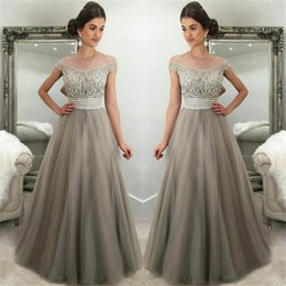 Wholesale Grey Sequin Long Dress - 2018 Silver Grey Tulle Gorgeous Crystals Prom Dresses A Line Off The Shoulders Long Evening Gowns Formal Celebrity Dress