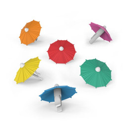 Wholesale Cup Party Supplies - Wines Cup Tags Creative Umbrella Shape Wine Glass Markers For Festival Party Supplies Multi Color 2 4wf C R